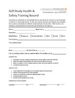 Self-Study Training Record Form