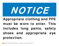 Notice Proper Clothing and PPE-Safety Shoes and Eye Protection