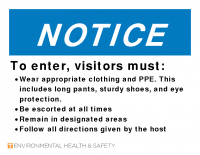 Notice Proper Clothing and PPE-Shop Visitors