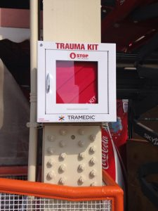 photograph of a trauma kit attached to a support column in Nelyand Stadium