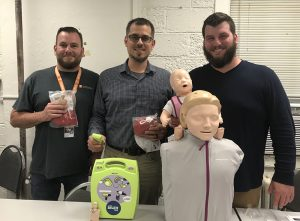 Photograph of the three new CPR Trainers, Alex Fusaro, James Cantu, Brandon Best