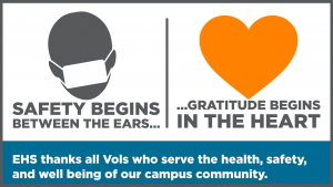 """Graphic of a masked figure with """"Safety begins between the ears"""" and a Heart with """"gratitude begins in the heart"""""""