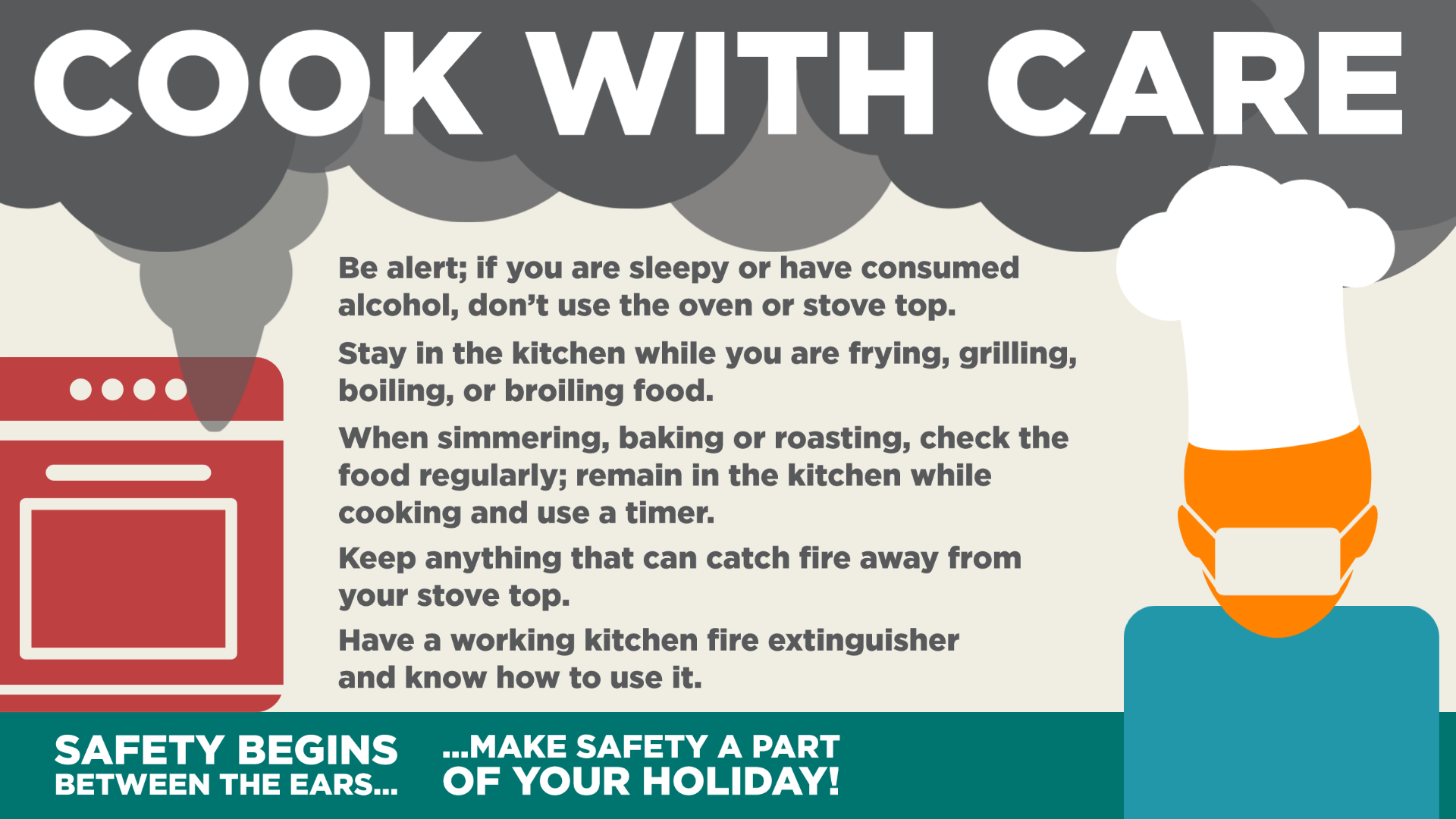 A graphic that lists safety considerations for Holiday Cooking Safety