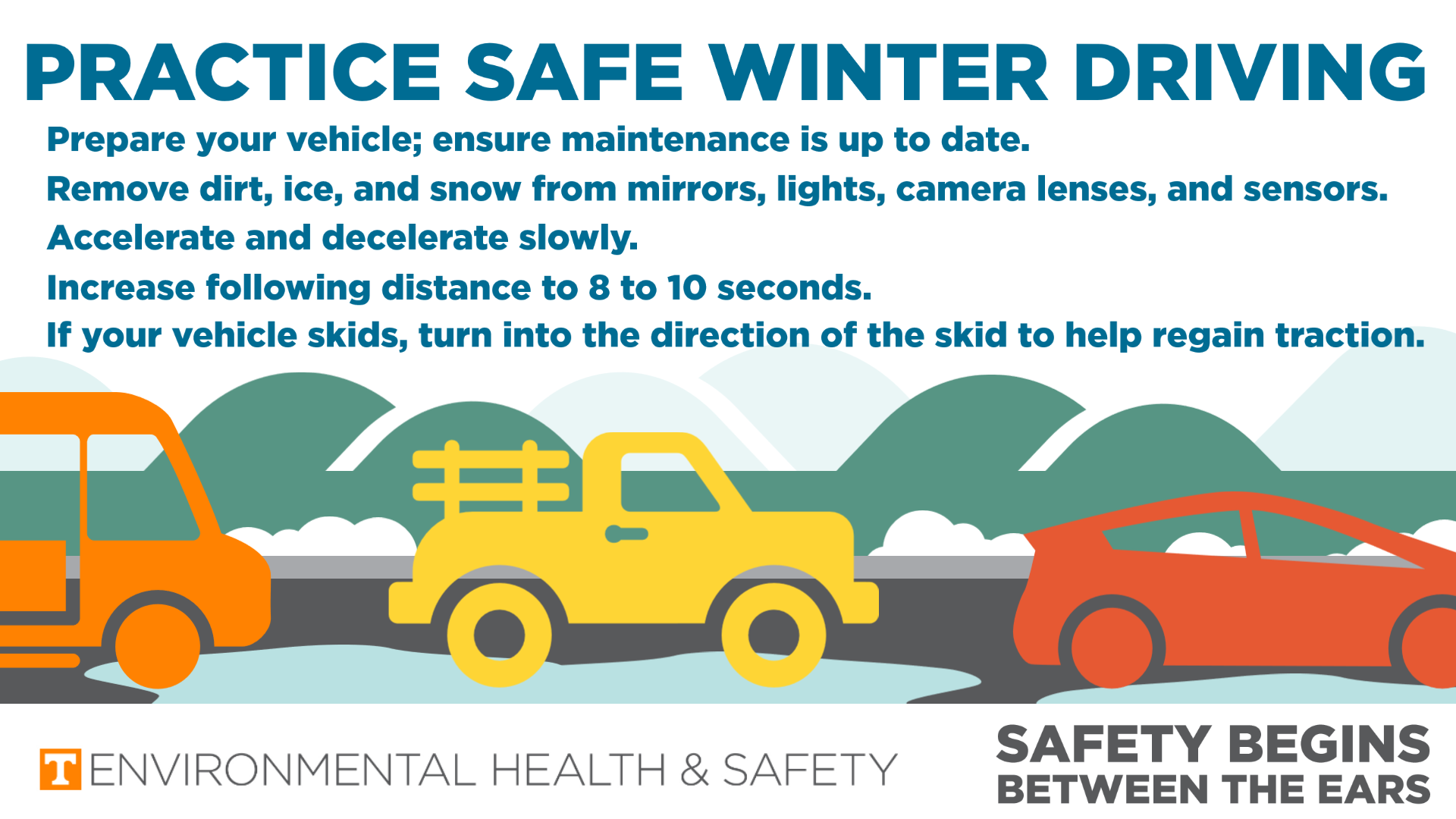 Graphic of cars on a roadway with a list of winter weather tips. Those tips are in the body text of the corresponding post.