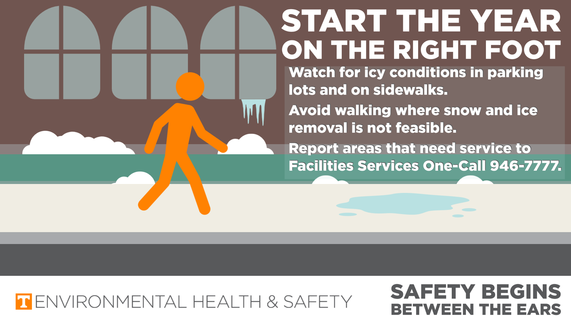 Graphic of person walking on sidewalk with slippery conditions. Instructions are to contact Facilities Services at 865-946-7777