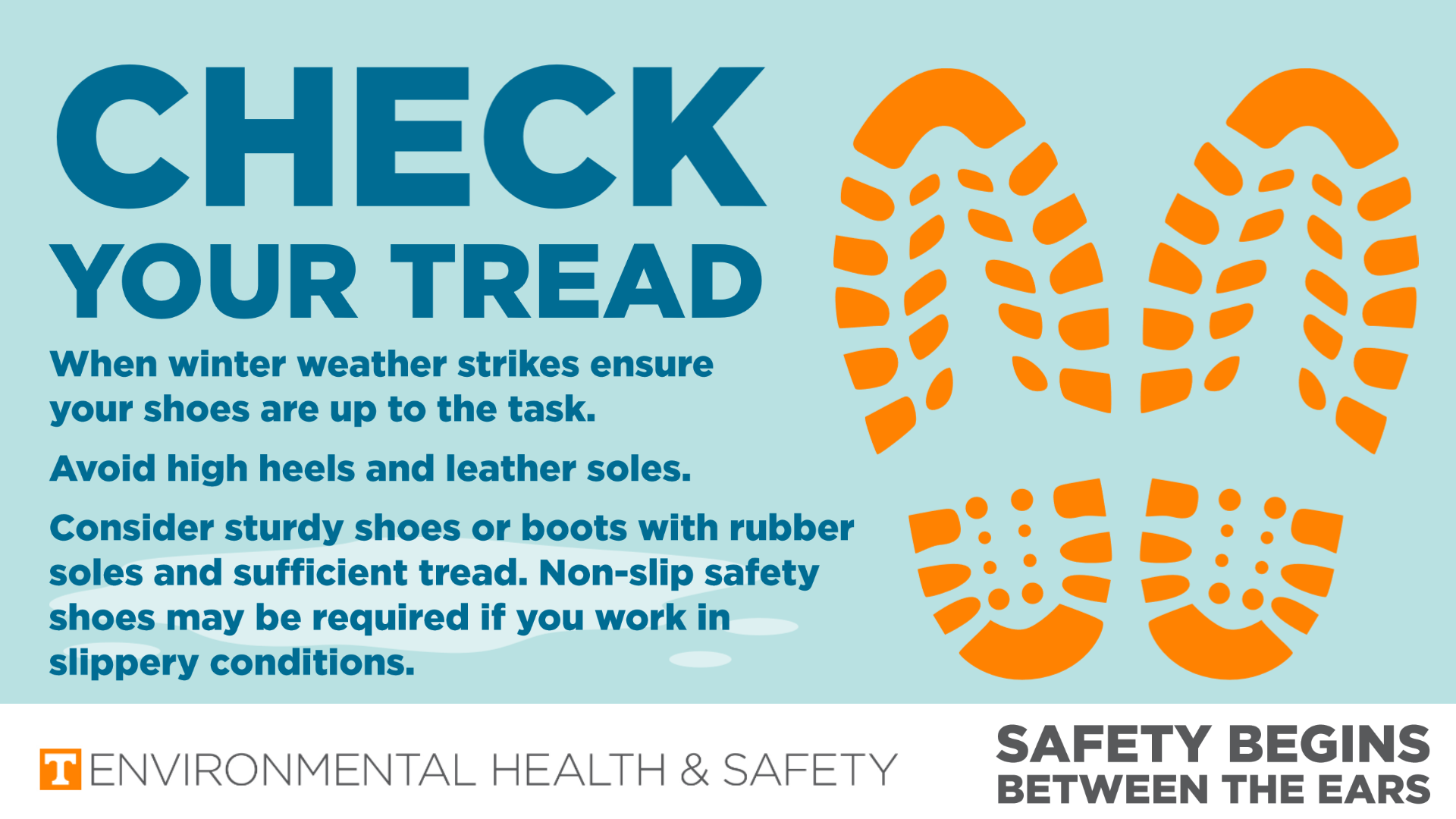 A graphic with icons of shoes prints. Title: Check your tread. A list of consideration for shoes is displayed. These are present in the blog post text.