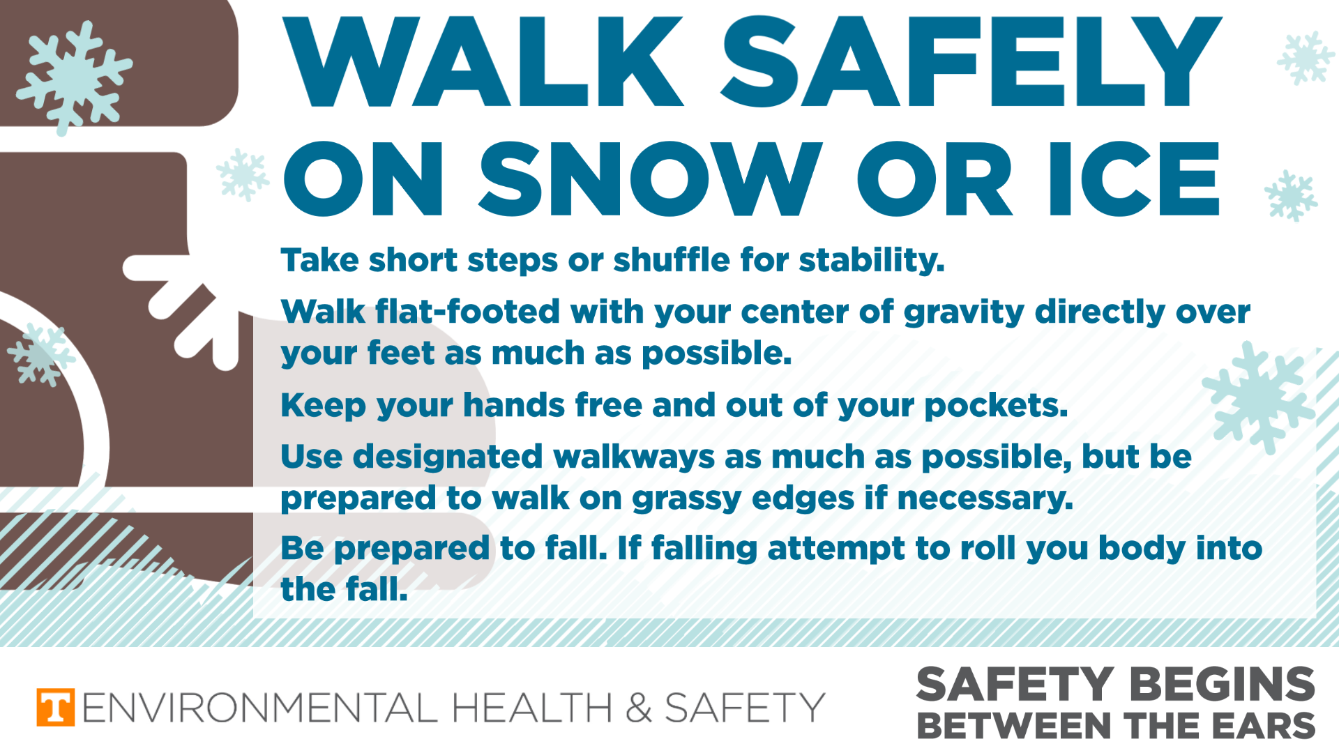 A graphic of a boot on snow with text describing walking safely on snow and ice. text is embedded in the ass