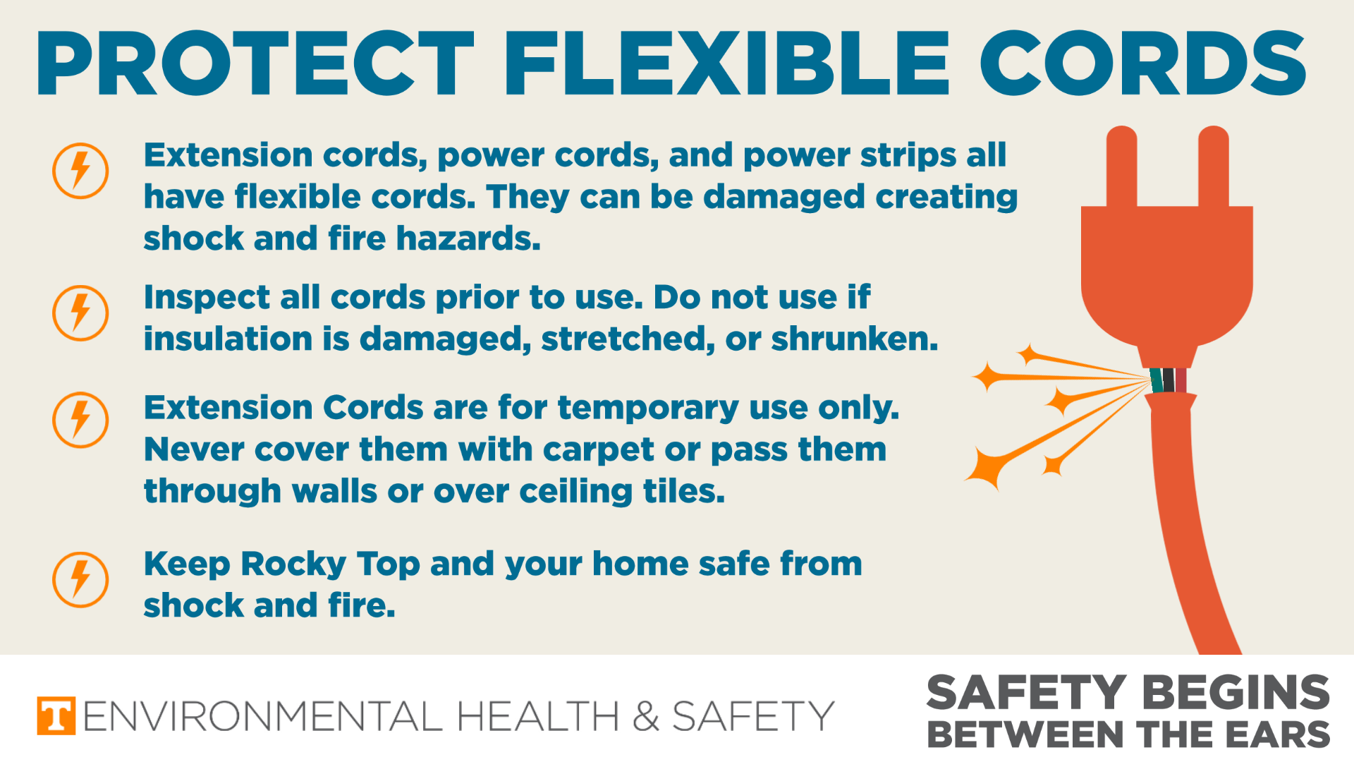 Infographic with graphic of a electrical cord and plug with damage insulation and sparks flying out. The graphic lists ways to protect flexible cords including: The can cause shock and fire hazards. Inspect them for insulation that is damaged stretched, or shrunken. They are for temporary use and should never be covered with carpet or passed through walls or ceiling tiles.