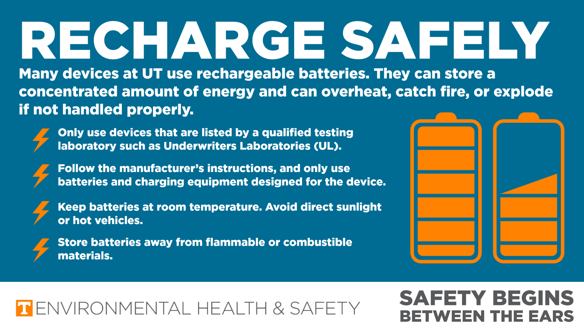 Infographic of with battery icon indicating to charge safely.