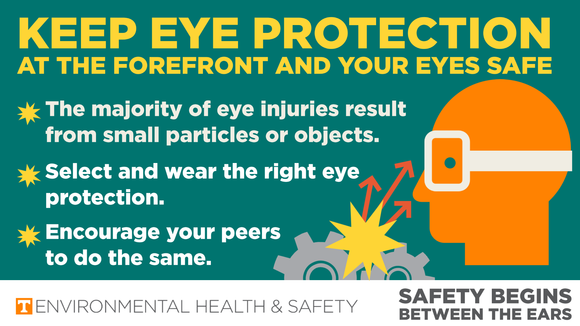Infographic showing a face with eye protection and debris flying from machinery towards the face