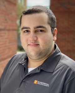 Lab safety specialist Ahmad Mitoubsi recently graduated with a Master of Public Health